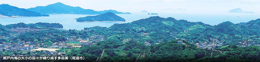 瀬戸内海の大小の島々が織り成す多島美(尾道市)